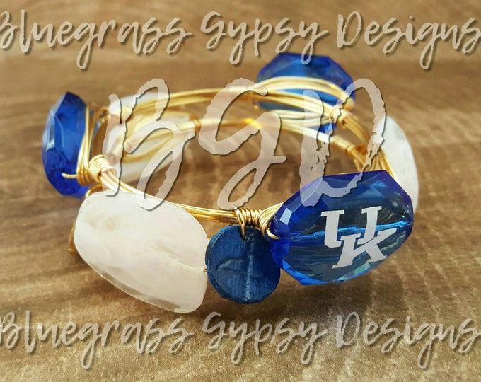 20% off University of Kentucky Wire Wrapped Bangle, UK Bracelet, Bourbon and Boweties Inspired