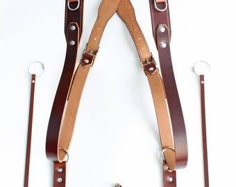 Double Camera Harness, Dual Leather Camera Strap, Cognac Shoulder Camera Strap, Camera Strap,  Handstitched Harness, Multicamera Strap