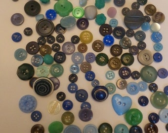 135 Vintage Blue and Green Button Lot Assorted Buttons Blue Green Other Colors mixed in Variety of Mixed Button Button Lot