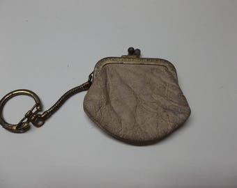 Vintage Leather Coin Purse Keychain