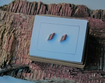 Silver and Copper double bar Stud earrings