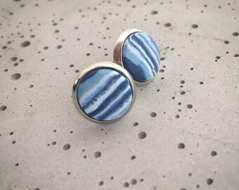 Handmade polymer clay bezel stud earrings- marbled blue