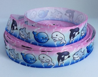 """7/8"""" Whale Ribbon - Adorable Whales and Sharks - Printed Grosgrain Ribbon"""