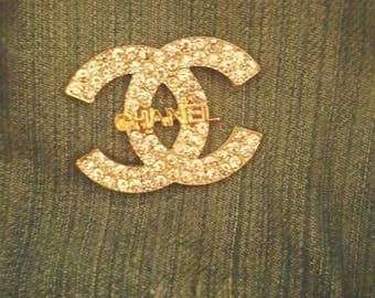 Chanel inspired rhinestone and gold lapel pins shirt collar pins collar pins fashion pin flair pin button back lapel pins tie tack pins