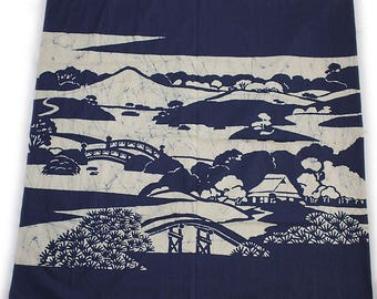second hand furoshiki, traditional Japanese wrapping cloth, old fabric, cotton, battick dyeing