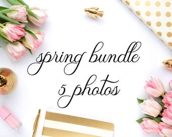 Spring bundle - 5 styled stock photos (desk scene - gold&pink,tulips) - for blogs/businesses