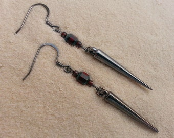Gunmetal Spike with Ruby Red