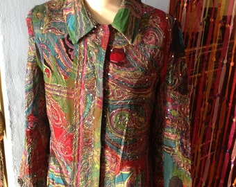VINTAGE COLORFUL GYPSY embroidered boho coat
