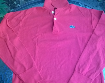 Vintage 1980s Long Sleeve Lacoste Polo childs shirt - red with Blue 'Alligator'