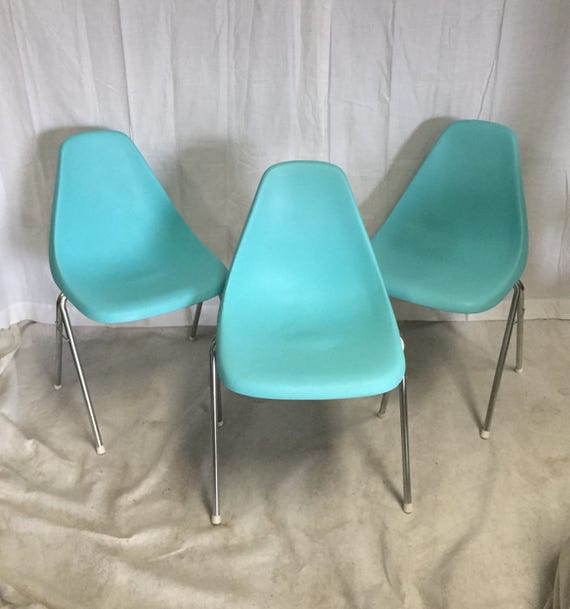 Vintage Stacking Chairs Set Of Three Midcentury Molded Plastic