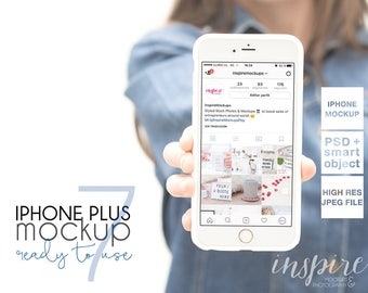 Iphone 7 plus Mockup / PSD Smart Object / Styled Stock Photography for Etsy Listings / Girl Holding Iphone / Femenine Stock /Web design show