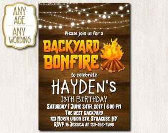 Backyard Bonfire Invitation, Bonfire Birthday Invitation, Fall Birthday Invite, Cookout Party invitation, Camping Invitation, ANY AGE - 1653