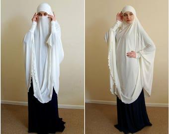 Transformer milk Khimar, niqab transformer,dayisy niqab, powder jersey nikab, traditional hijab,ready to wear hijab, long hijab,burqa, abaya