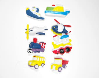 Eight Transportation-Themed Refrigerator Magnets Molded Plastic Vintage    (967)