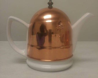 Copper White Pottery Coffee/Tea Pot with Copper Insulating Warmer