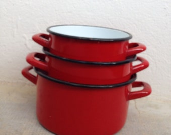 Vintage French Enamelware RED enamel Coffee Pot Copper Enameled Enamel 2