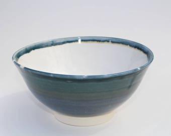 Thin blue Porcelain serving bowl by Keegan Miskin