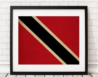 Trinidad & Tobago Flag Art, Flag Print, Flag Poster, Country Flags, Flag Painting, Caribbean Gifts, Wall Art, Wall Decor, Housewarming Gift