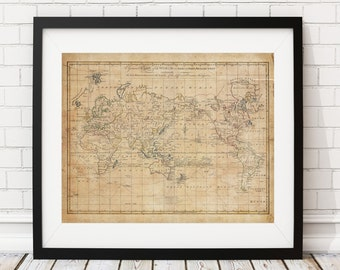World Map Print, Vintage Map Art, Antique Map, Hemispheres, History Gift, Antique World Map Wall Art, Old Maps, Map of the World, Poster