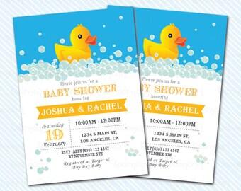Digital Printable Duck baby Shower Invitation. Duckling invitation