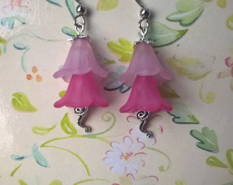 pink flower drop earrings, floral hook earrings, dangle silver bell earrings