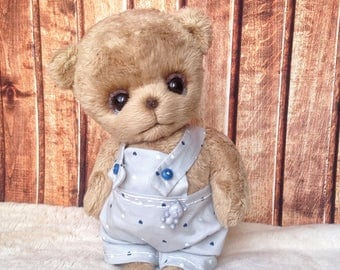 Teddy  brown  plush Bear hand made  toy  Artist teddy bear made to order for you