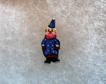 Clown Jewelry Pin - handcarved and handpainted