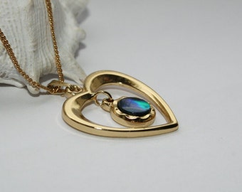 Seashell, PowerShell, gold plated pendant, heart pendant, 18 carat,
