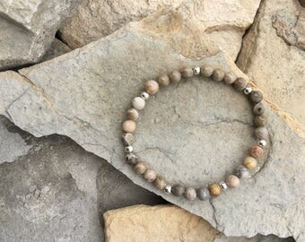 Flower agate with silver plate beads bracelet