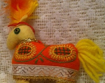 Felt Yellow Orange Horse Ornament
