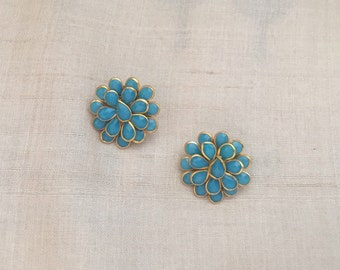 Blue Pacchi Kari Indian Button,Jaipur Jewellery Layered Charm,Ethnic Rajasthan Bead,Indian Floral Jewellery Supply 2.5cm Dia,Price for 2 pc