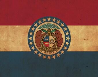 Vintage Missouri Flag on Canvas, Flag, Wall Art, Missouri Photo, Missouri Print,  Fine Art, Great Lake Flag, Single or Multiple Panels