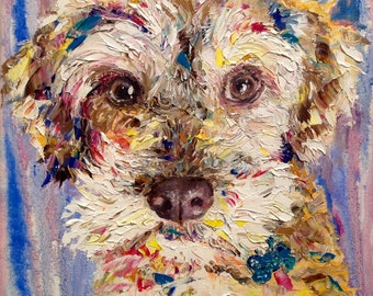 Dog Lover's Gift Custom Dog Portrait Oil Painting Pet Portrait Original Dog Portait From Photo Anniversary Gift Pet Abstract Portrait Dog