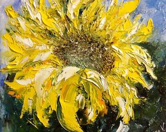 Sunflower Small Painting Original Miniature Painting Oil Painting Sunflower Art Canvas Ukrainian Art Anniversary Gift Wall Art Canvas Mini