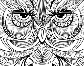 Owl Coloring Page For Calm, Relaxation, and Stress Relief - Adult Coloring Book Art Page Print Instantly | Printable Coloring Pages