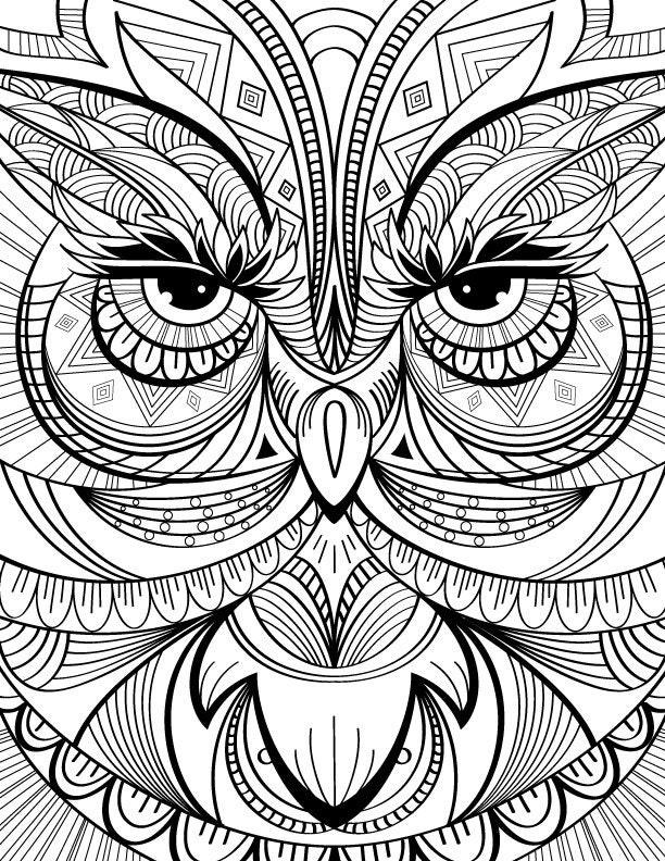 Hibou coloriage page au calme d tente et le stress relief - Coloriage relief ...