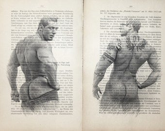 Erotic  poster  / Muscle nude boys body buttock/ Printing Antique  book  decor interior picture ART erotic souvenir