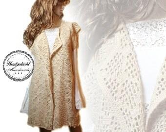 Handmade crochet handmade vintage long vest bolero shabby chic size 42 44 L