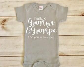 grandma and grandpa announcement with date / pregnancy announcement / grandparent announcement / grandma and grandpa baby announcement