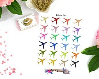Air Plane Stickers, Glitter Air Plane Planner Stickers, Planner Stickers, Glitter Stickers
