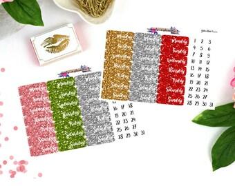 Glitter Date Cover stickers, Date Cover Stickers, Date Cover Planner Stickers, glitter planner stickers, glitter stickers