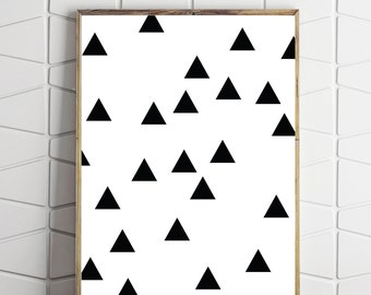 triangle art print, triangle printable, triangle digital download, aztec monochrome art, aztec style art, abstract art decor