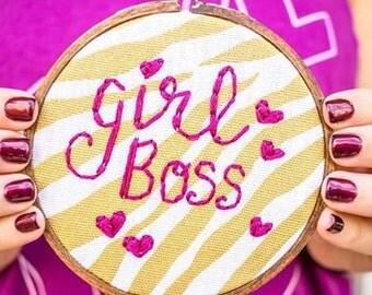 Girl Boss Embroidery Hoop