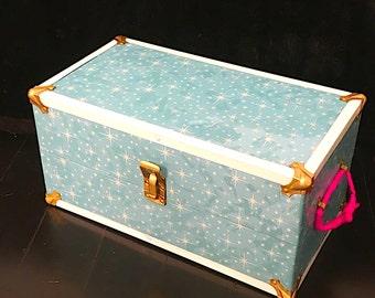 Vintage Doll case, retro metal doll box, refurbished antique box