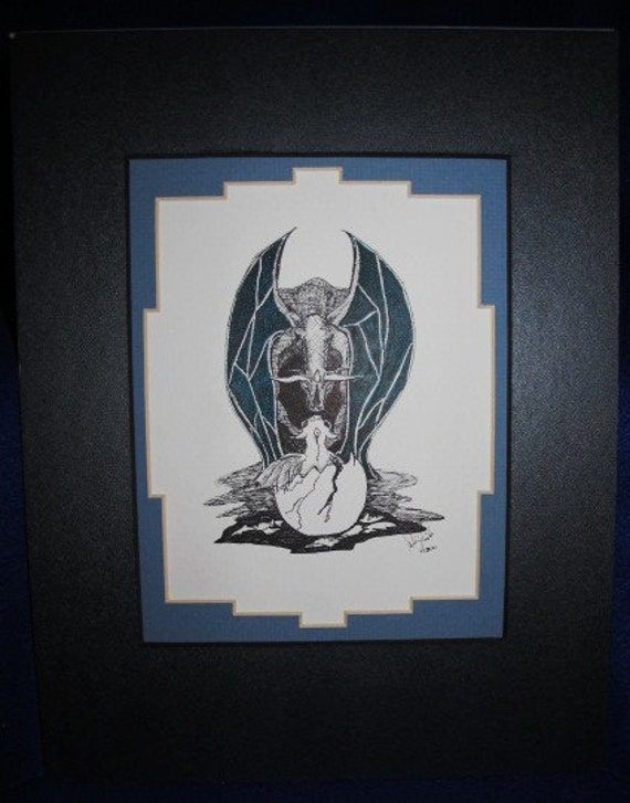 Dragon Baby: Limited pre-matted prints. Framing size 11x13