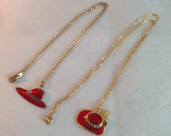 Red Hat Necklace Lot, 2