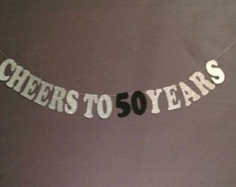 50th Birthday Decorations, Happy Birthday, 50th Bithday, Cheers to 50 Years, Glitter Banner, Birthday Party Decorations, Cheers and Beers