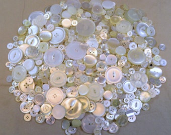 Vintage Lot Over 1/2lb+ Simple White & Clear Plastic Buttons