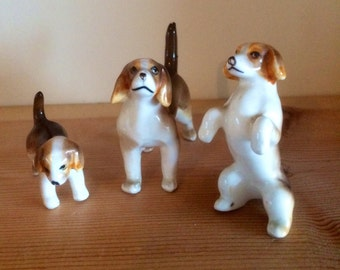 Trio of Porcelain Hand Painted Beagles
