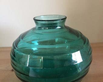 Vintage Ribbed Keith Murray Style Aqua Blue Green Small Vase